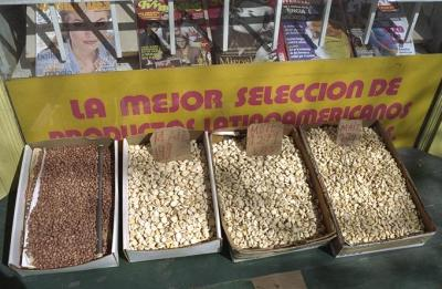 Beans for sale in front of an Ecuadorean shop